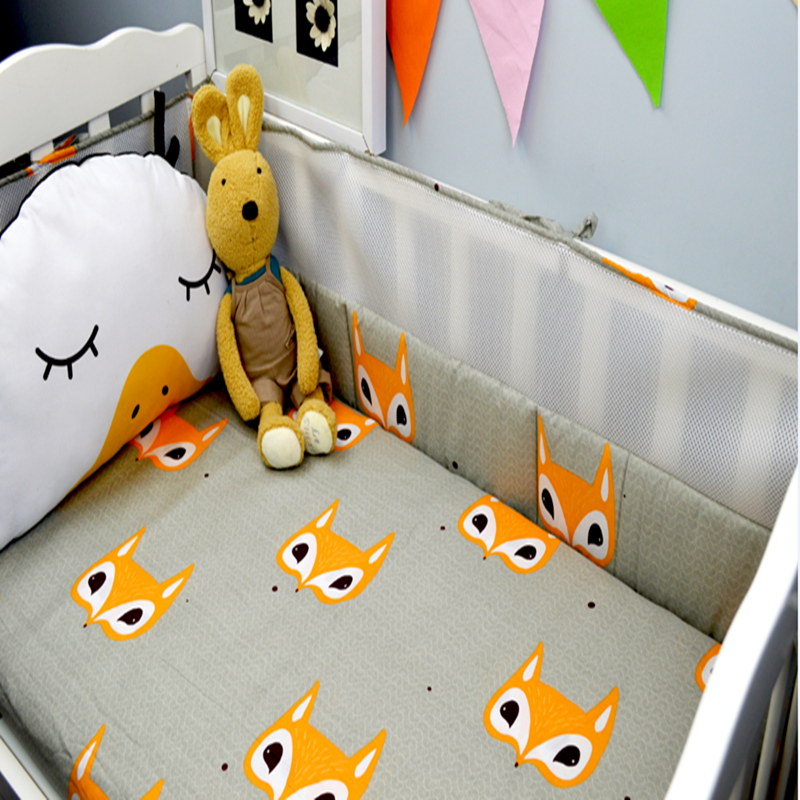 ФОТО Cotton Baby Bumper Bed Printing Cartoon Fox Pattern Stitching Surrounded  Crash-proof Breathable Baby Bumper Bed Around Bedding