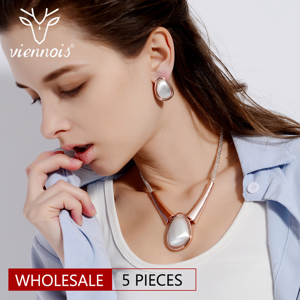 Viennois Trendy Rose Gold Color Jewelry Sets for Women Geometric Chain Necklace Stud Earrings Party Wedding Statement Jewelry viennois gold color geometric stud earrings for women water drop shape female earrings women fashion jewelry