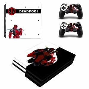 Image 4 - Deadpool עיצוב ויניל מדבקת עור מגן עבור סוני פלייסטיישן 4 פרו קונסולה + 2PCS בקר עור מדבקות כיסוי עבור PS4 פרו
