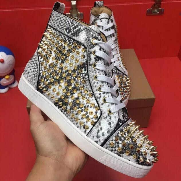 2dc0aa33e Лидер продаж мужская обувь золотого/серебряного цвета с заклепками и шипами  змеиной кожи Туфли без