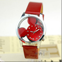 купить 2019 New Casual Mickey Women Watches transparent hollow dial leather quartz wristwatches women dress watch Gift relogio feminino дешево