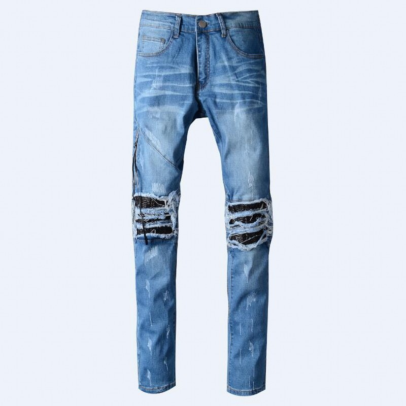 Men's Distressed Ripped Brand Jeans Famous Fashion Cool Designer Slim Motorcycle Biker Causal Denim Pants Runway Trousers 28-42 2017 fashion patch jeans men slim straight denim jeans ripped trousers new famous brand biker jeans logo mens zipper jeans 604