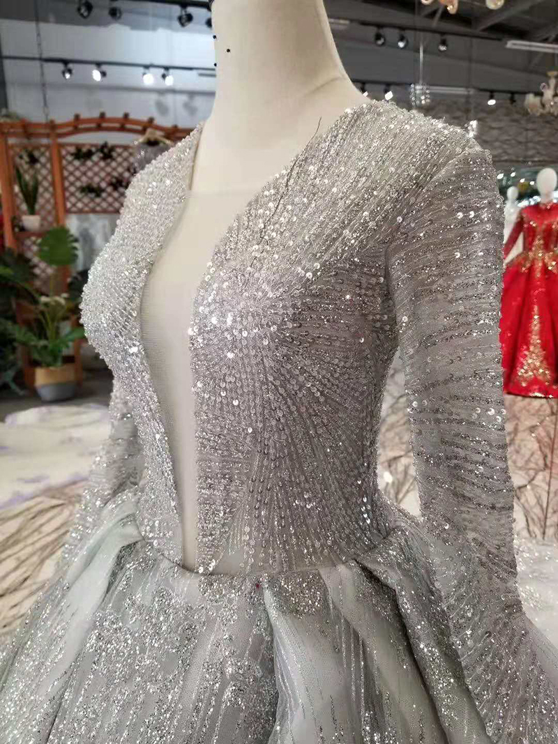 LSS406 shiny luxury evening dresses with glitter deep v neck long sleeves party dresses long train ladies sparkly dress 2019 in Evening Dresses from Weddings Events