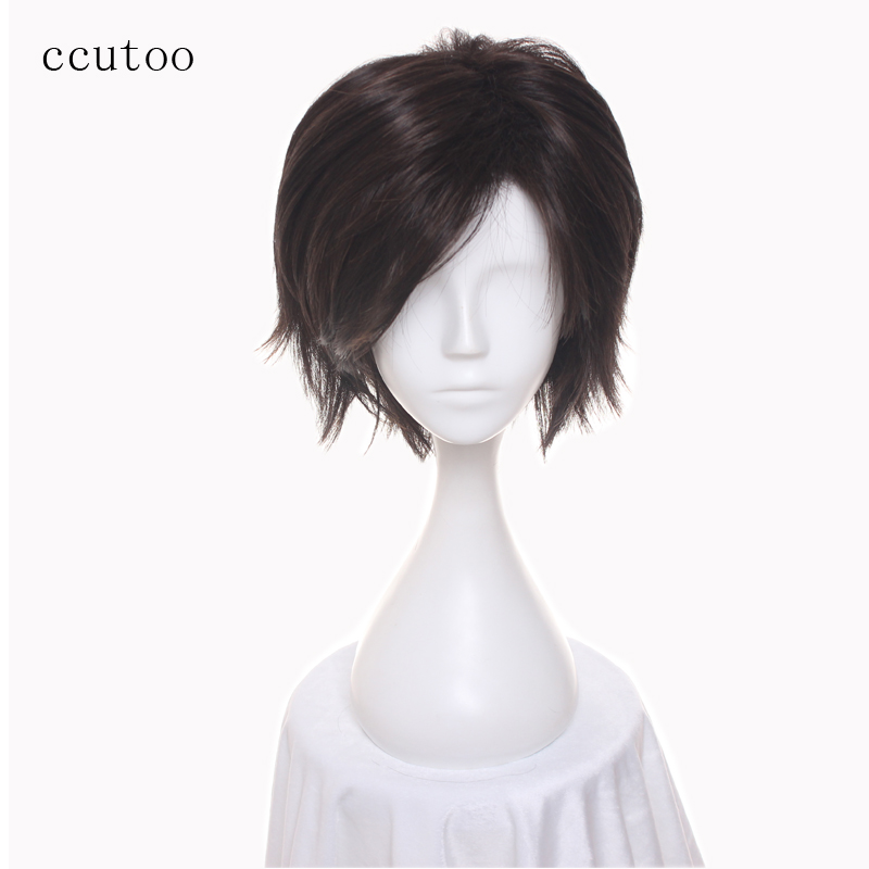 ccutoo 12 Mystic Messenger Han Jumin Dark Brown Mens Short Fluffy Layered Synthetic Hair Cosplay Full Wigs Heat Resistance