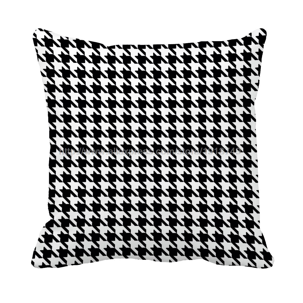 black and white Houndstooth printed decorative throw pillow case sofa chair decor modernist geometric cushion cover