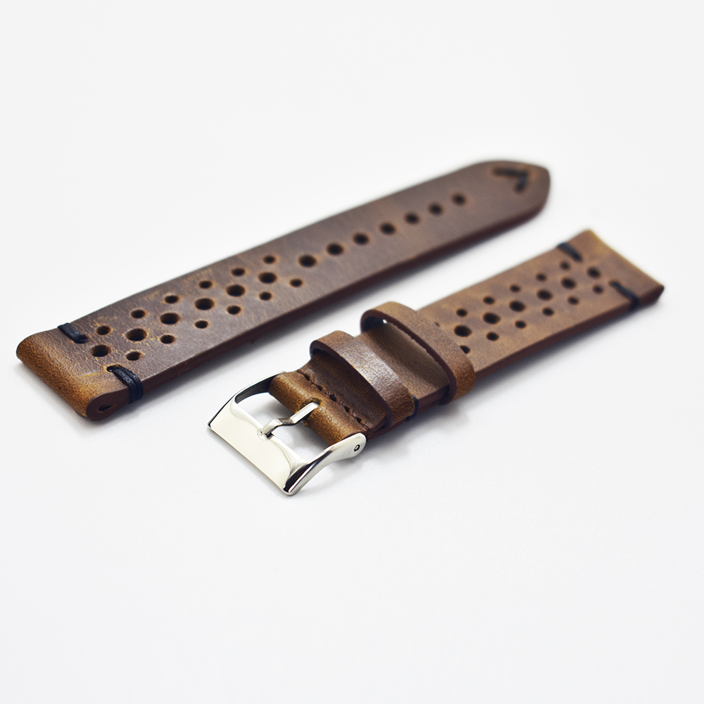 20mm 22mm 24mm watch Strap Genuine Leather Strap Retro Watch Belt Handmade Watchbands With Quick Release Buckle D in Watchbands from Watches