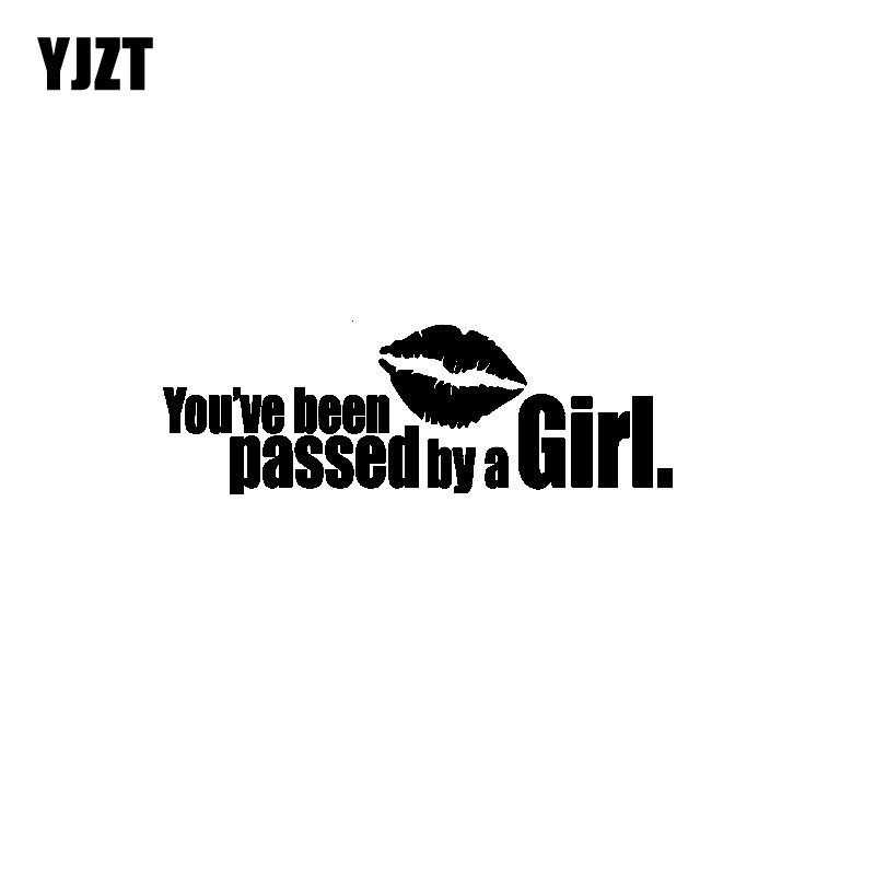 YJZT 16CM*5.3CM Fun YOUVE BEEN PASSED BY A GIRL Vinyl Car Sticker Decal Black/Silver C11 ...