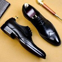 QYFCIOUFU/ г.; высококачественные модельные туфли-оксфорды ручной работы; Мужские модельные туфли из натуральной коровьей кожи; обувь для свадьбы; официальная итальянская обувь
