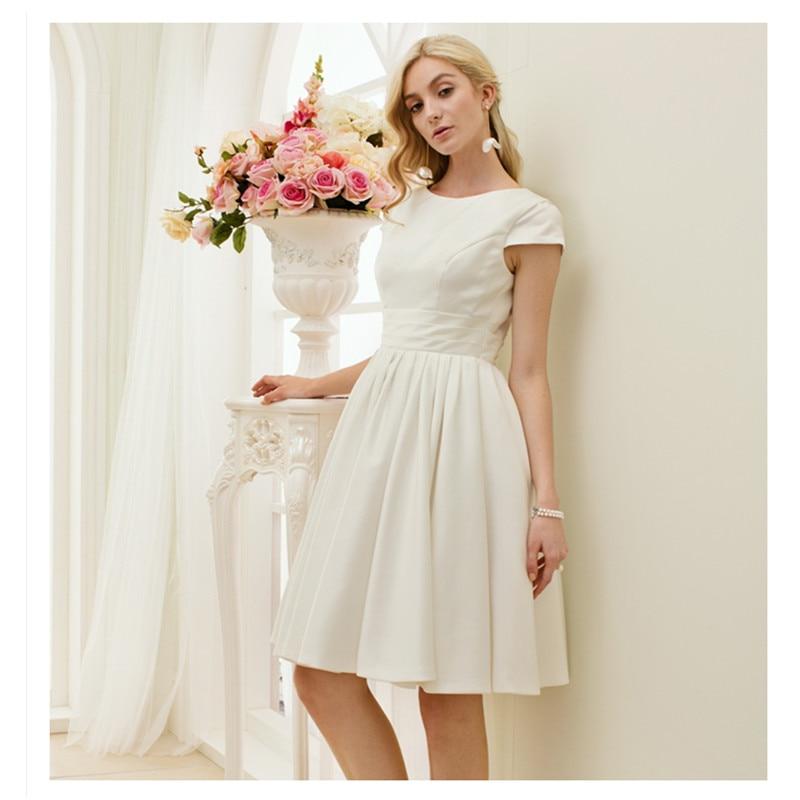 LAN TING BRIDE A Line Princess Wedding Dress O Neck Short