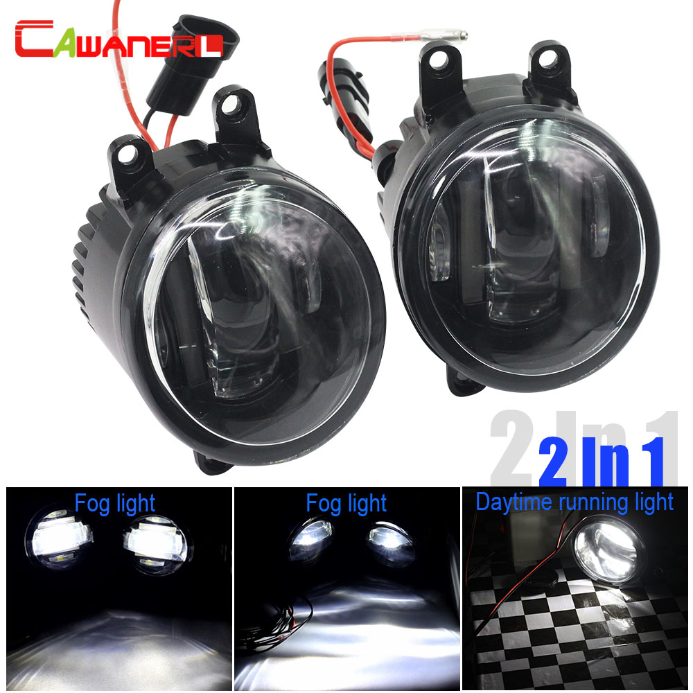 Cawanerl Car Styling Fog Light LED Daytime Running Lamp DRL White For Toyota RAV4 Previa Yaris Avensis Camry Highlander Corolla cawanerl for toyota highlander 2008 2012 car styling left right fog light led drl daytime running lamp white 12v 2 pieces