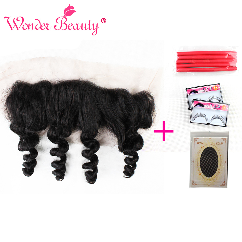 Wonder Beauty Brazilian Human Hair Loose Wave Free Part Lace Frontal Closure Hand Tied 13x4 Lace