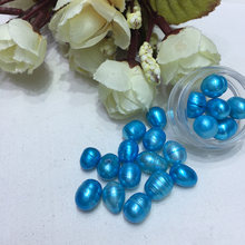 40Pcs/lot Rice Shape Pearls Sky Blue Beads 6-7 mm Freshwater pearls for Jewelry Making diy Gift Hot Sale(China)