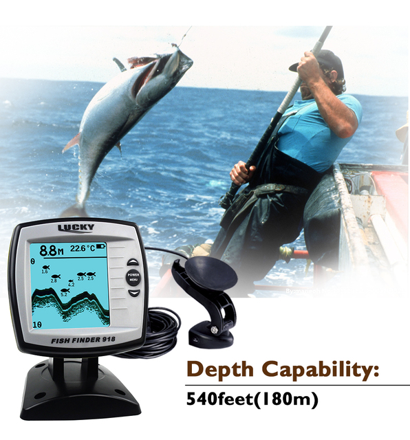Best Price Lucky Boat Fish Finders FF918-180S Fishing Echo Sounders For Boat Assistance FindFish Deeper Sonar Sensor FishFinders Pesca Lure