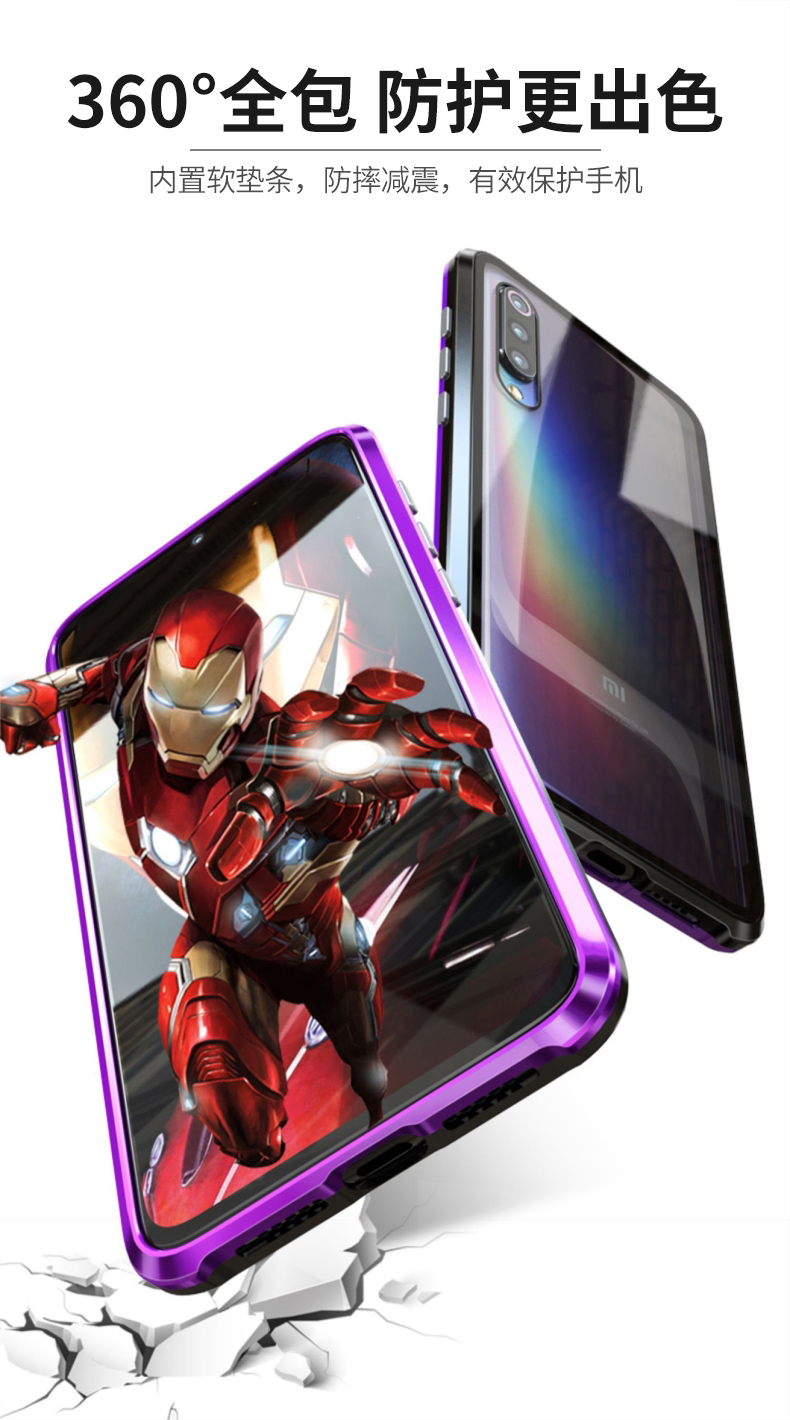 Magnetic Case For Xiaomi Mix 3 Case Mi9 Full Protective double sided Transparent Tempered Glass Cover for Xiaomi Mi 9 Case Max3 in Fitted Cases from Cellphones Telecommunications