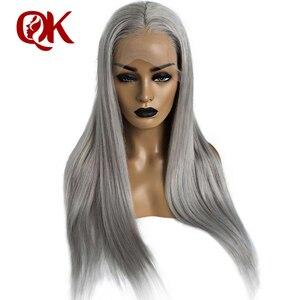 Queenking cabelo transparente peruca dianteira do laço 180% densidade cinza loira perucas de prata cinza brasileiro remy cabelo frete grátis durante a noite