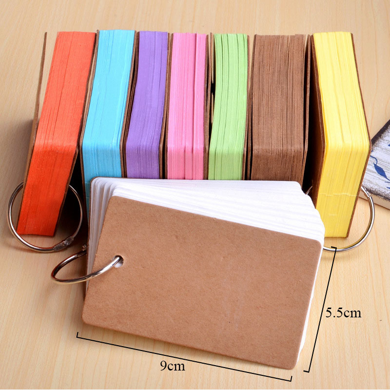 50 Sheets Memo Pad Binder Ring Easy Flip Flash Cards Study Cards Colorful Kraft Paper Sticky Notes For Learning Cute Stationery