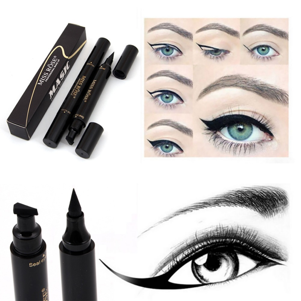 Able Miss Rose Brand Makeup Liquid Eyeliner Pencil Quick Dry Waterproof Black Eye Liner With Seal Stamp Beauty Eye Pencil #250047 Beauty Essentials
