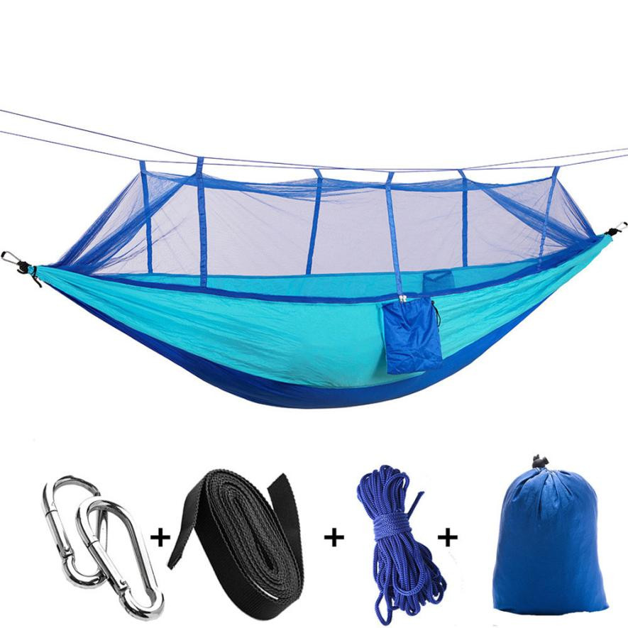 NEW High strength Portable Outdoor Camping Mosquito Net Nylon Hammock Hanging Bed Durable Sleeping Swing Set 260*140 cm/102*55'' new portable high strength parachute fabric hammock hanging bed with mosquito net 3 colors hg99
