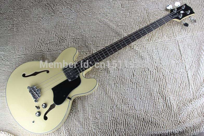 free shipping Top Quality Lower Price Custom Rice yellow es335 jazz Hollow Body 4 String jazz electric bass guitar free shipping top quality new style f hole half hollow body p90 pick up gold top jazz electric guitar in stock