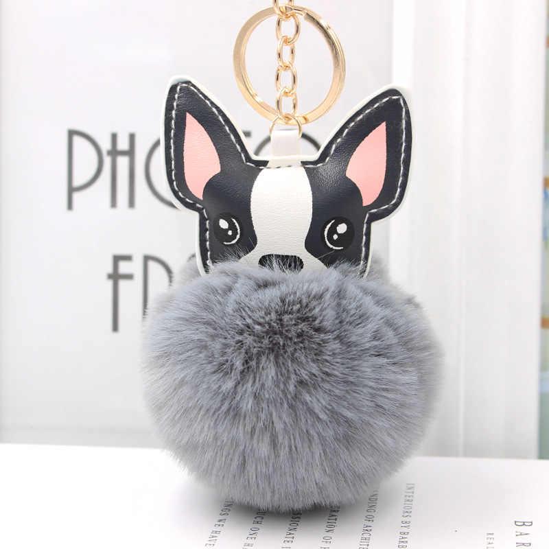Bola de Pêlo de Coelho fofo Pom Buldogue Francês Chaveiro de Couro Macio Plush Stuffed Toy Animal Cão Saco Titular Chaveiro Trinket