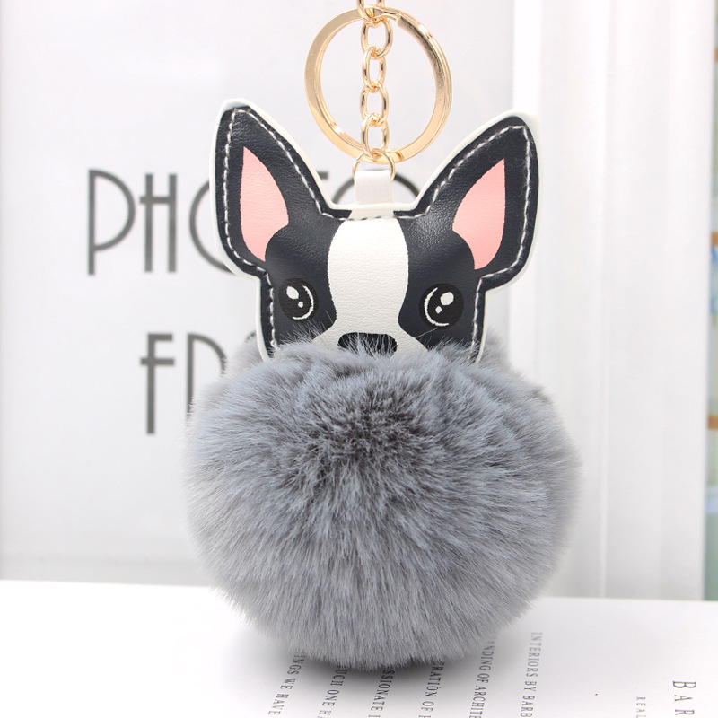 Fluffy Rabbit Fur Ball French Bulldog Keychain Leather Soft Pom