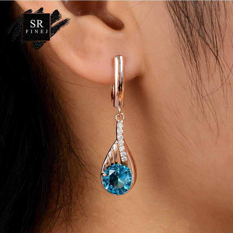 SR:FINEJ Gold Color Earrings Green Crystal CZ Stone Pierced Dangle Earrings Women Long Drop Earrings Fashion Jewelry oorbellen