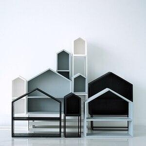 Casa de madera negra gris blanca, estantes de adorno para cupcakes, mesa de postre, Fores nórdicos, accesorios de boda, herramientas, soporte para pastel de madera