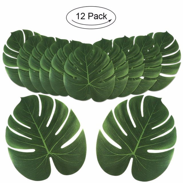 12Pcs Green Artificial Tropical Palm Leaves For Banquet Table Decorations Dining Placemats Wedding Party Decoration