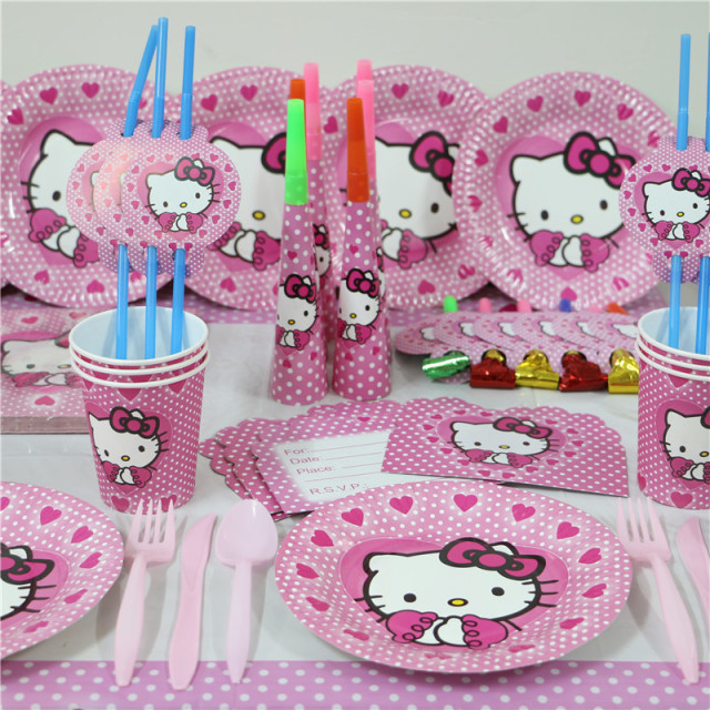 e50a3a550 New 74pcs luxury kids girls birthday Party Decoration Set hello kitty theme  party supplies baby birthday party pack paper plates