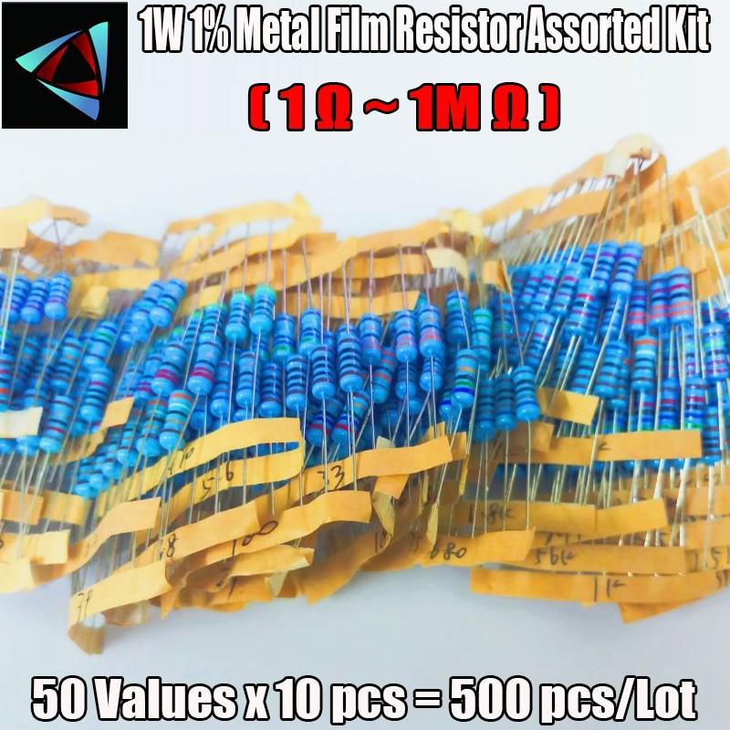 100pcs 10values 1W metal Resistance 1 ohm-75 ohm Resistor Assortment Kit 1Watt
