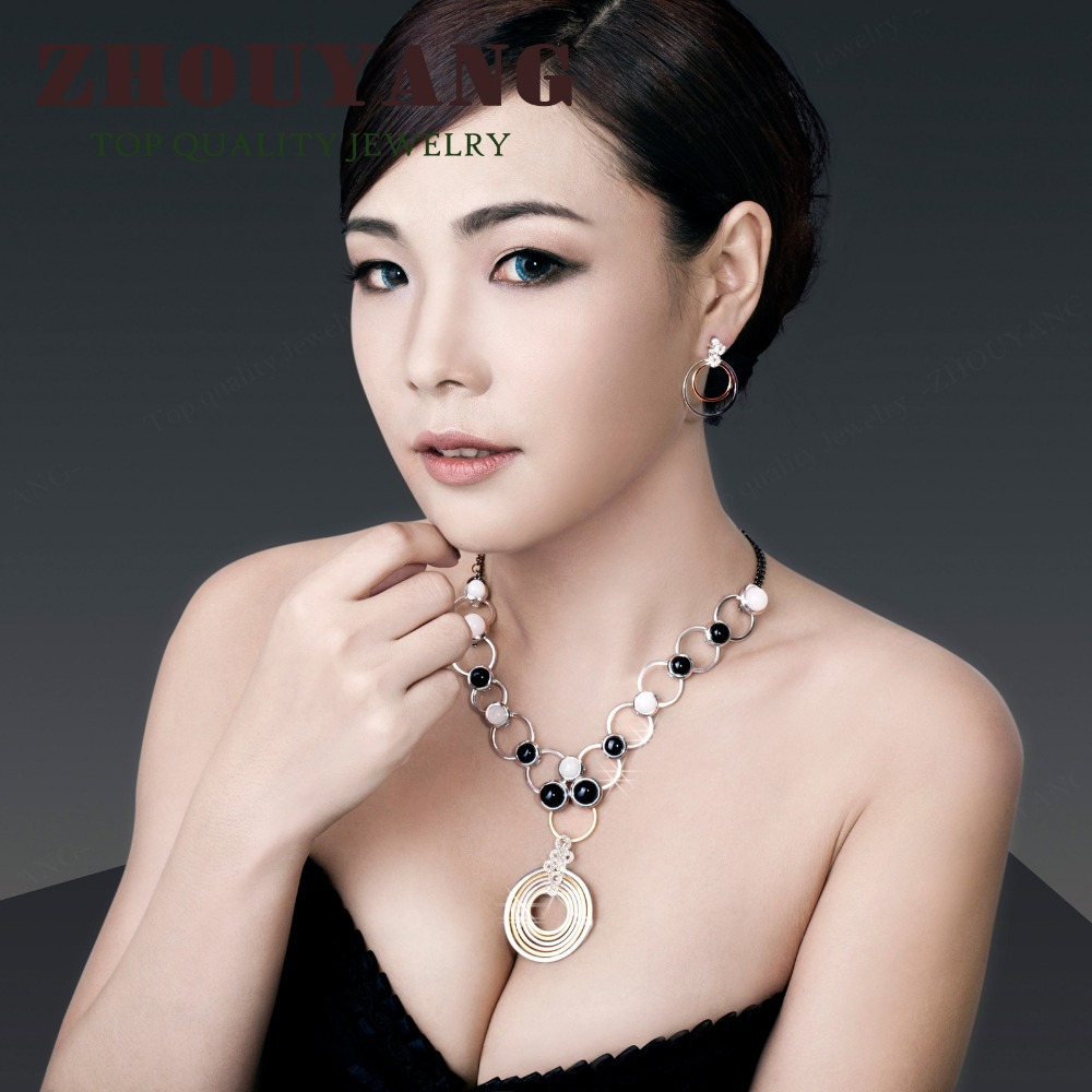 ZHOUYANG Top Quality Semi Precious Stones Silver Color Jewelry Changeable Sets Rhinestone Made with Austrian Crystals ZYS366