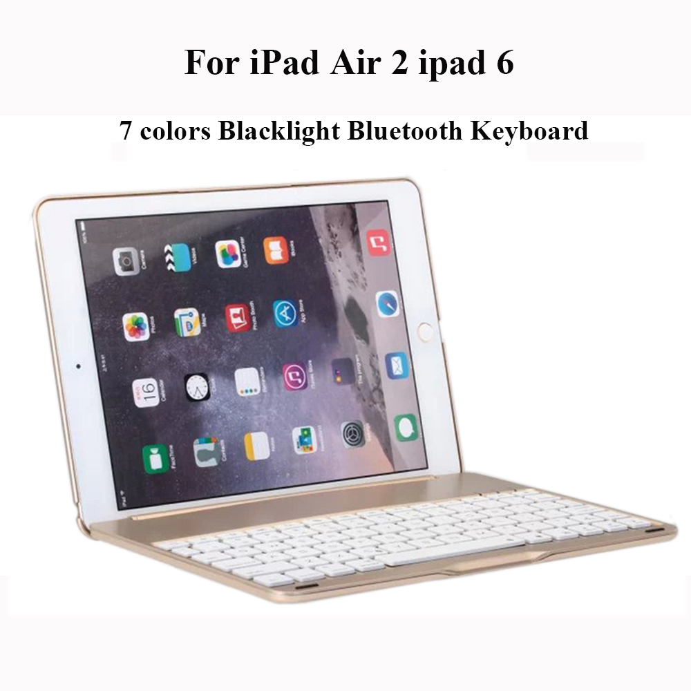 For iPad Air2 iPad 6 Detachable 7 Colors Backlight Backlit Aluminum Wireless Bluetooth Keyboard With Stand Protective Case Cover ultrathin wireless keyboard for ipad air bluetooth keyboard with 7 colors backlight backlit magnetic rotating slot smart cover