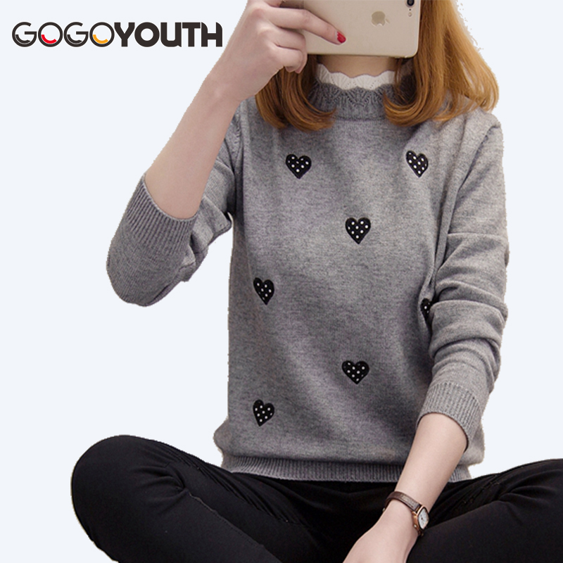 Surmiitro Heart Embroidery Winter Sweater Women For 2019 Autumn Korean Elegant Knitted Jumper Ladies Pullover Female Pull Femme