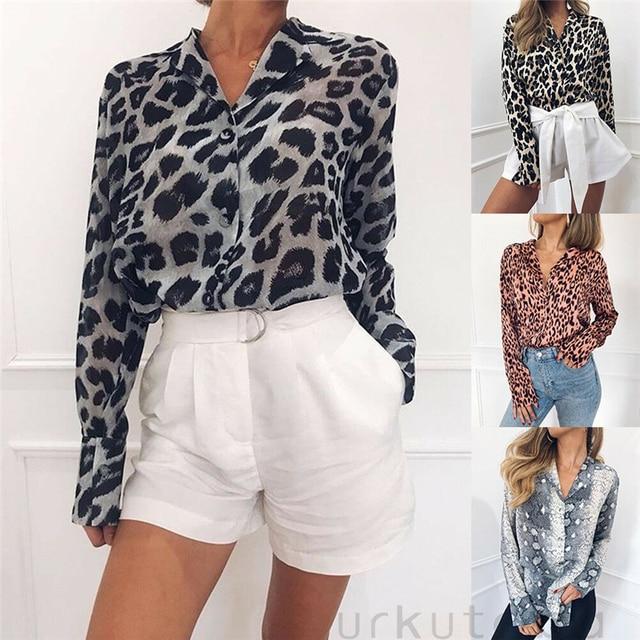 2019 de las mujeres de la moda de verano Casual suelto leopardo manga larga estampado pitón Tops blusa botón abajo blusa nueva llegada