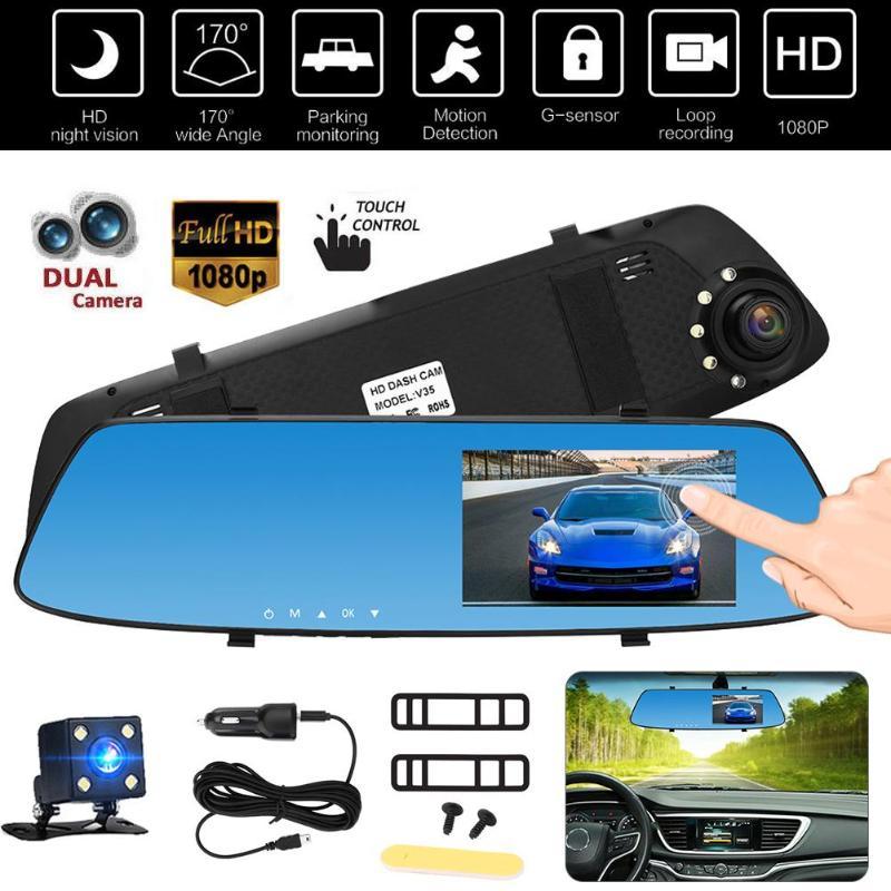 VODOOL Автомобильный dvr камера 4.3in TFT сенсорный экран двойной объектив монитор Авто Парковка автомобиля Vedio камера-видеорегистратор Дэш Cam резе...