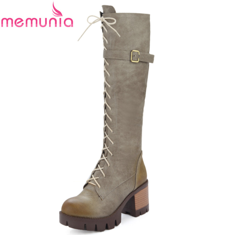 MEMUNIA Large size 34-43 2017 new autumn warm fashion lace up knee high boots high heel round toe platform martin women shoes fashion women half knee high boots solid buckle metal round toe platform wedge shoes 3 colors large size 34 43