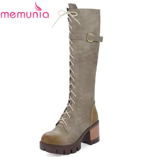 Tamanho grande 34-43 2017 nova moda inverno quente rendas até meados de bezerro botas de salto med plataforma dedo do pé redondo martin mulheres sapatos