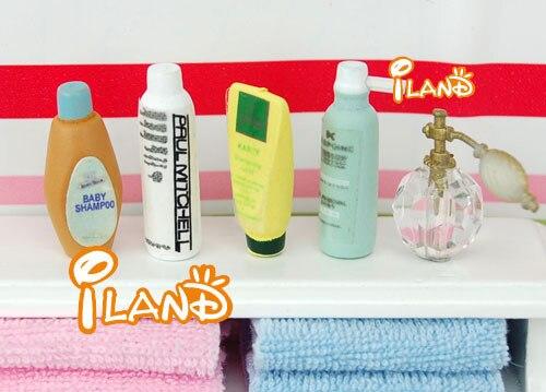 1/12 Dollhouse Miniature Bathroom Accessory Perfume Shampoo Bath Gel set OD010B