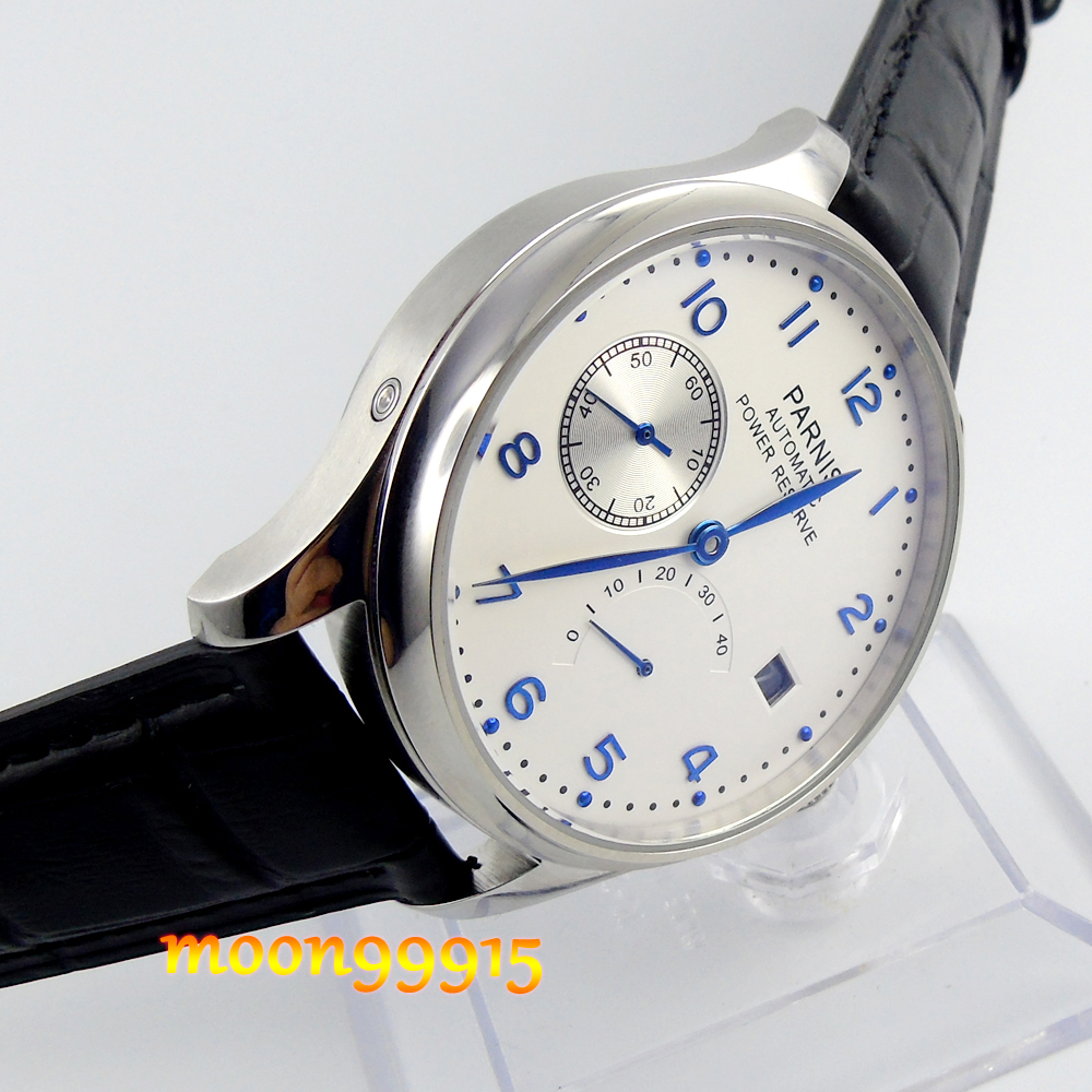 43mm parnis white dial blue marks power reserve automatic mens watch P08 casual 43mm parnis automatic power reserve white dial blue numbers silver watch case business watch men