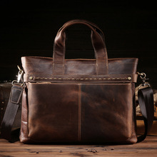 Direct selling mens retro mad horse leather handbag bag business briefcase 8029-3