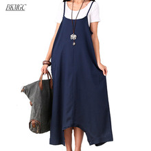 Summer Dress Women Loose Waist Plus Size Women Casual Dress Spaghetti Strap Cotton Linen Maxi Dress Solid Color Novelty Dress