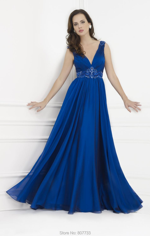 JM.Bridals CW3483 Flowy V Neck beaded royal blue or grey color long ... 278248519513