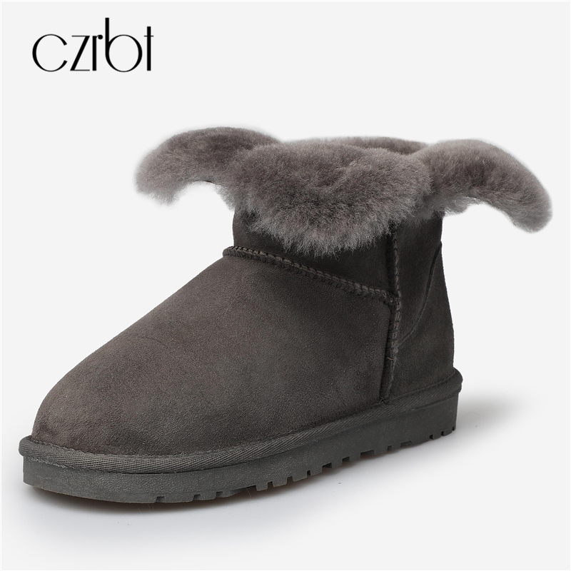 купить CZRBT Women Boots Winter Classic Cow Suede Real Wool Flat Heel Snow Boots Australia Snow Boots Slip On Ankle Boots Brown Violet дешево