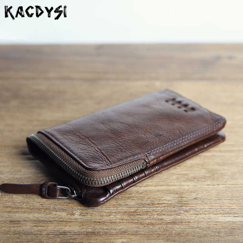 Famous Brand Vintage Genuine Leather Cowhide Men Mens Short Wallet Wallets Purse Zipper Coin Pocket Male Carteira ID Card Holder
