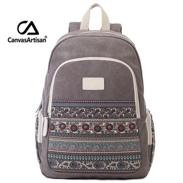 Canvas Backpack For Women Rucksack National Womens Backpacks Girls Travel Bags Retro College Student Mochila Feminina Back Pack