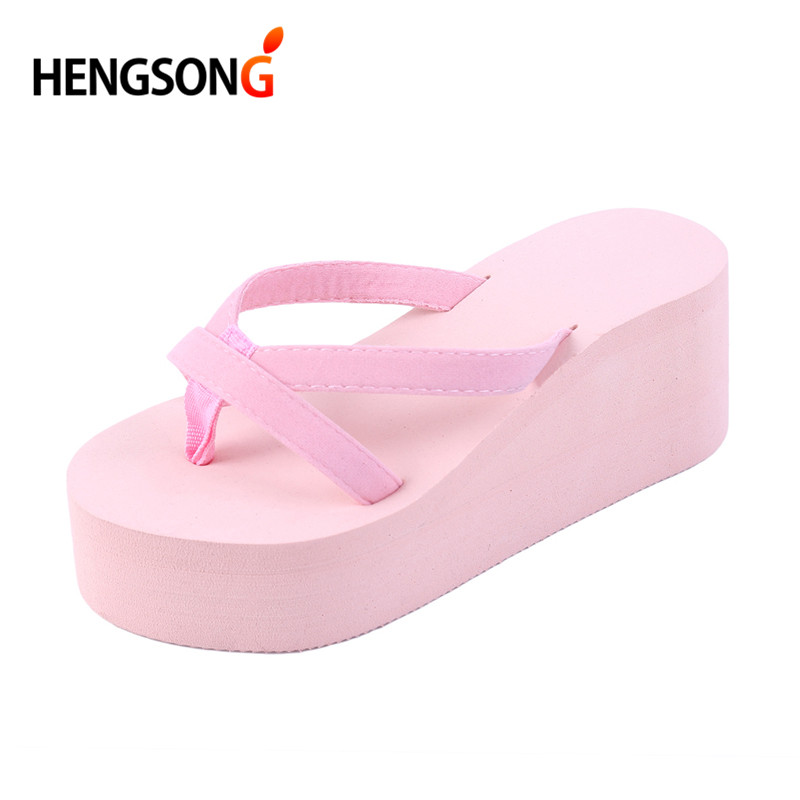 2018 Summer Sandals Wedges Women Slip Flip Flops Beach Sandals Shoes Fashionable Casual Sandals Female Ladies Shoes
