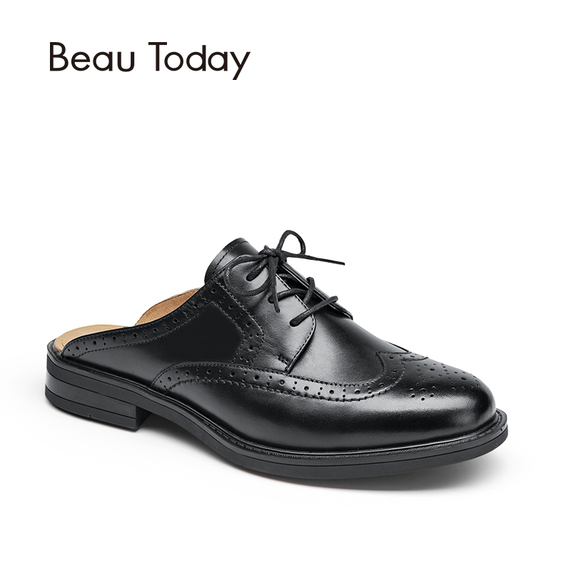 BeauToday Mules Women Genuine Leather Lace Up Backless Round Toe New Fashion Brogue Style Ladies Shoes Handmade 36009 weideng 2017 new brogue genuine leather women flats loafer casual ladies designer oxford shoes lace up fashion handmade