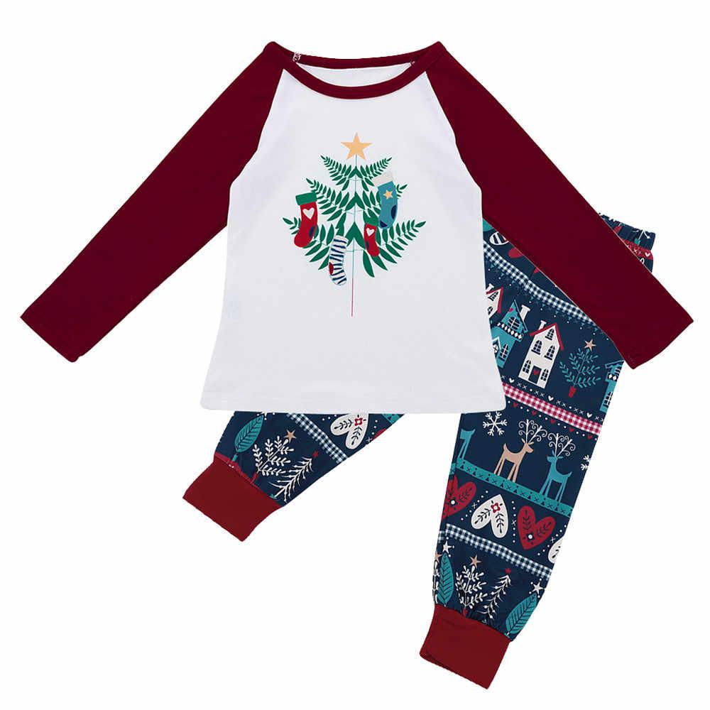 6c52d187db MUQGEW niños bebé Tops blusa pantalones familia pijamas de manga larga de  Navidad camisetas pantalones 2