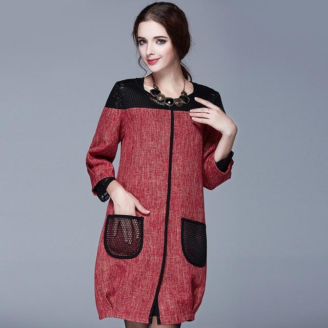Spring Coat Sale 2016 Europe Size New Loose Ladies Autumn Slim Pocket Cropped Sleeve Trench Coat For Women Sobretudo Feminino