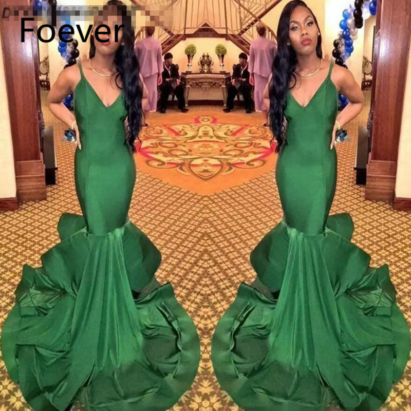 Sexy Backless Spaghetti Straps Mermaid Prom Dresses Simple Sleeveless Green Evening Gowns Dresses robe de soiree